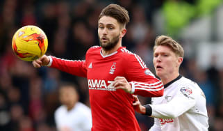 Henri Lansbury of Nottingham Forest and Jeff Hendrick of Derby County