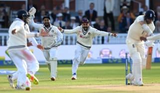 India's Rishabh Pant and Virat Kohli celebrate the wicket of James Anderson