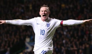 Wayne Rooney celebrating scoring during the international friendly football match between Scotland and England