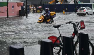 Flash floods in London in July 2021