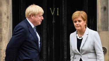 Boris Johnson standing next to Nicola Sturgeon