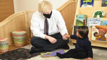 Boris Johnson visits a nursery in west London