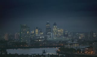Storm clouds gathering over the City of London