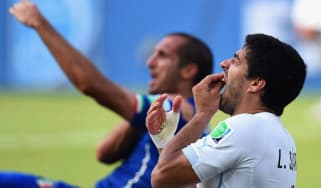 Luis Suarez and Giorgio Chiellini react after their clash at the World Cup