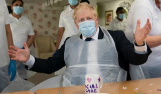 Boris Johnson during visit to Westport Care Home in Stepney Green, east London