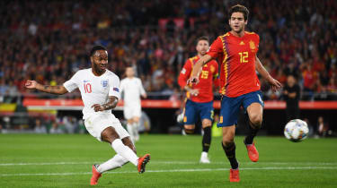 Raheem Sterling scores England's first goal in their 3-2 win in Spain
