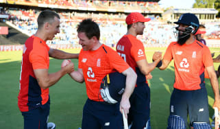 Eoin Morgan and the England players celebrate their T20 series victory against South Africa