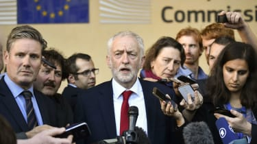 Jeremy Corbyn outside the European Commission