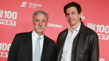 Formula 1 CEO Chase Carey and Mercedes team principal Toto Wolff