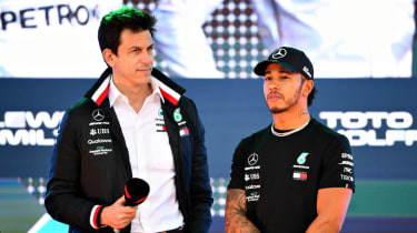 Mercedes team principal Toto Wolff and British driver Lewis Hamilton