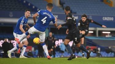 Bernardo Silva scored Man City's third goal against Everton at Goodison