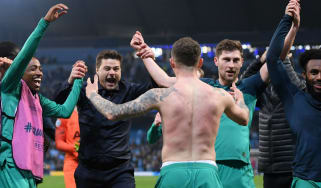 Tottenham manager Mauricio Pochettino and his players celebrate reaching the Champions League semi-finals