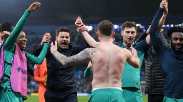 Tottenham manager Mauricio Pochettino and his players celebrate reaching the Champions League semi-finals