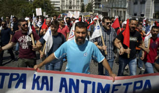 A 24-hour general strike against against planned austerity measures in Athens in May