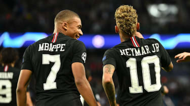 Paris Saint-Germain strikers Kylian Mbappe and Neymar