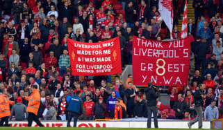 LIVERPOOL, ENGLAND - MAY 16:Liverpool fans pay tribute to Steven Gerrard during the Barclays Premier League match betrween Liverpool and Crystal Palace at Anfield on May 16, 2015 in Liverpool