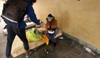 Homeless man in Budapest