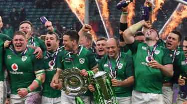 Ireland players celebrate their Six Nations grand slam win at Twickenham in 2018