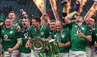 Ireland players celebrate their Six Nations grand slam win at Twickenham in 2018