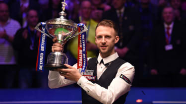 Judd Trump celebrates his victory at the 2019 Betfred World Snooker Championship final