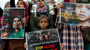 Demonstrators call for an end to attacks on Rohingya