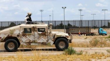 National Guard units on patrol near El Paso, Texas
