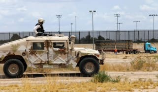 National Guard units on patrol near El Paso, Texas