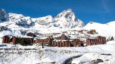 Monte Cervino (the Matterhorn) and the village of Breuil-Cervinia, Valle d'Aosta, Italy