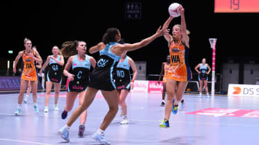 Surrey Storm and Severn Stars in action during a Vitality Netball Superleague fixture