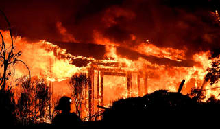 Fire destroys a home in the Napa wine region of California