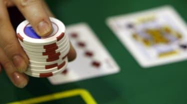 Gambling chips at a gaming table.