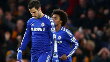 Dejected Chelsea players after the FA Cup match between Chelsea and Bradford
