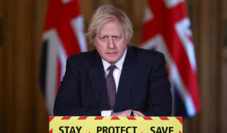 Boris Johnson at the daily Covid press briefing