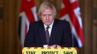 Boris Johnson at the daily Covid press briefing