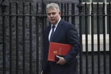 LONDON, ENGLAND - FEBRUARY 14: Northern Ireland Secretary Brandon Lewis arrives at Downing Street for a Cabinet meeting on February 14, 2020 in London, England. The Prime Minister reshuffled