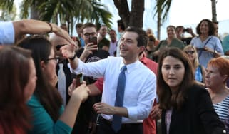 MIAMI, FLORIDA - MAY 20: Democratic presidential candidate and South Bend, Indiana Mayor Pete Buttigieg greets people during a grassroots fundraiser at the Wynwood Walls on May 20, 2019 in Mi