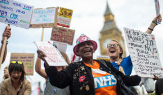 Public sector workers protesting against the pay cap outside Parliament last year