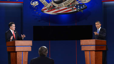 US President Barack Obama (R) and Republican presidential candidate Mitt Romney (L) participate in the first presidential debate at Magness Arena at the University of Denver in Denver, Colora