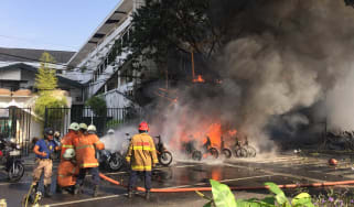 A family of six has been blamed for bombing three churches in Indonesia