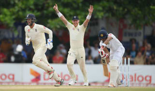 England keeper Ben Foakes and slip Ben Stokes celebrate a Sri Lankan wicket in the first Test win in Galle