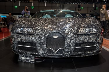 GENEVA, SWITZERLAND - MARCH 06: Bugatti Mansory is displayed at the 88th Geneva International Motor Show on March 6, 2018 in Geneva, Switzerland. Global automakers are converging on the show