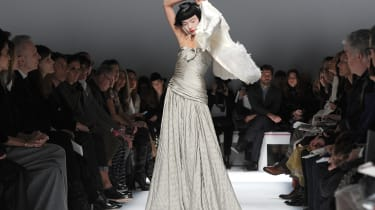 PARIS, FRANCE - JANUARY 20:A model walks the runway during the Schiaparelli show as part of Paris Fashion Week Haute Couture Spring/Summer 2014 on January 20, 2014 in Paris, France.(Photo by