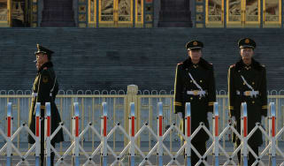 Chinese soldiers on guard duty