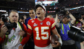 Kansas City quarterback Patrick Mahomes celebrates the Super Bowl win over the 49ers