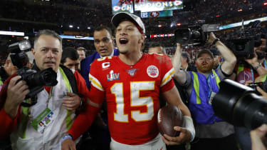 Kansas City quarterback Patrick Mahomes celebrates the Super Bowl win over the 49ers
