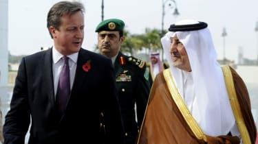 David Cameron with Prince Khalid bin Faisal bin Abdulaziz