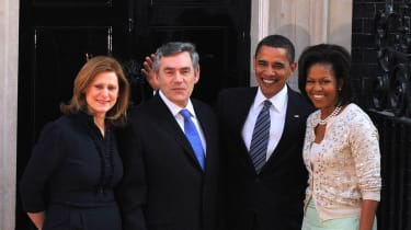 Sarah Brown with Gordon Brown and the Obamas