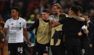 Liverpool Roma Champions League Klopp fans celebrate