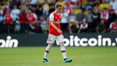 Mesut Ozil reacts after being substituted during Arsenal's 2-2 draw at Watford