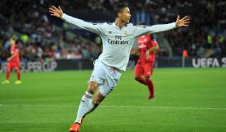Cristiano Ronaldo celebrates his second goal in the Uefa Super Cup